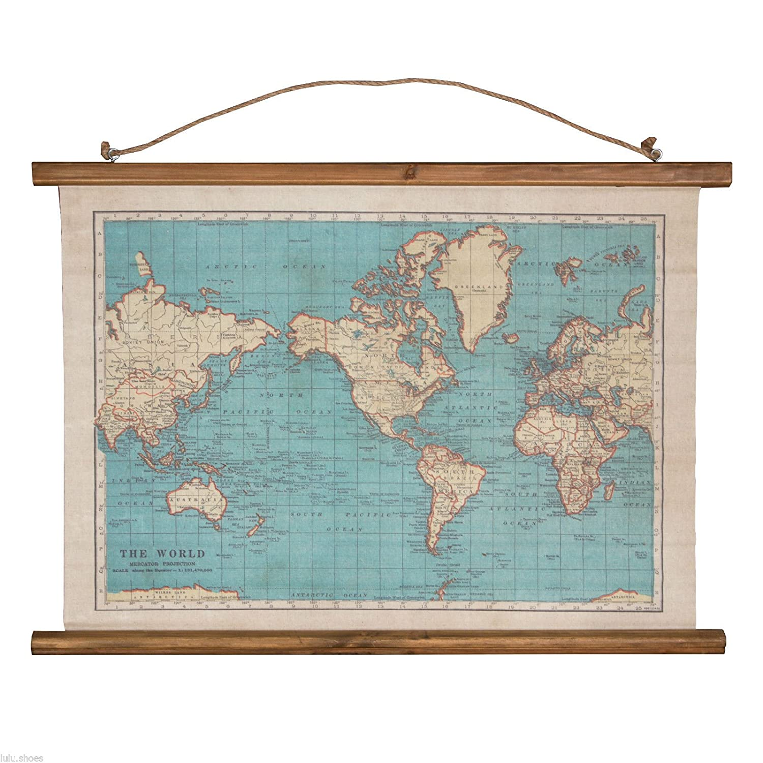 vintage map wall hanging canvas print world map burlap tapestry blue