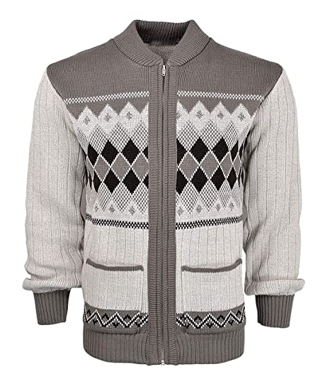 7921122923fc MA ONLINE Mens Argyle Diamond Knitted Long Sleeve Zip up Cardigan ...