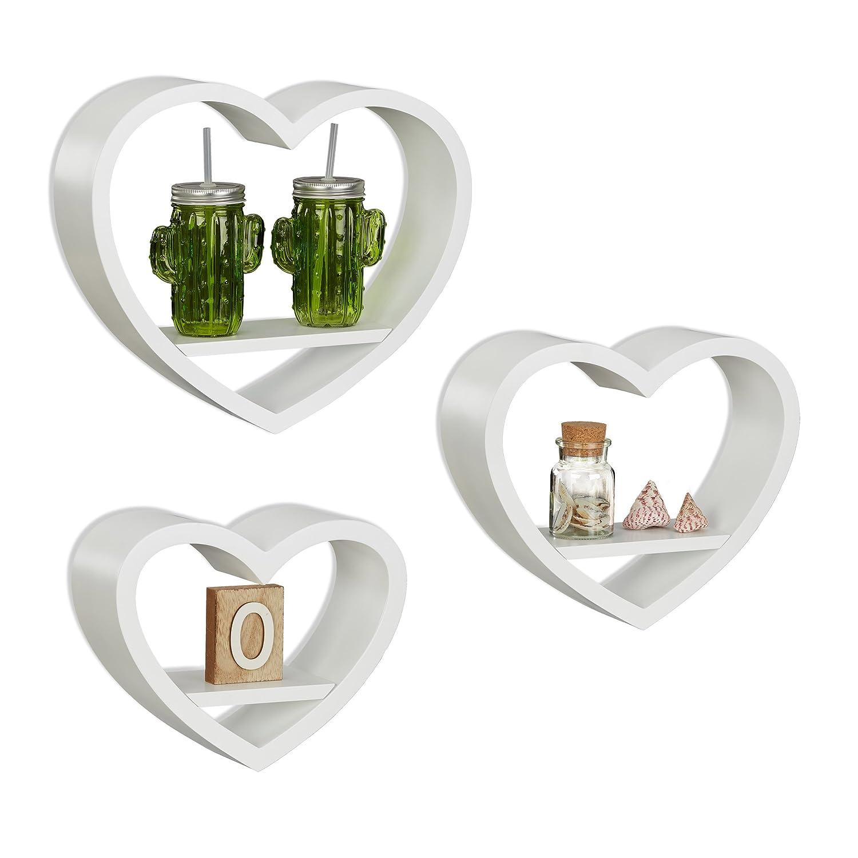 Relaxdays Heart-Shaped Wall Shelves Set of 3, Romantic Decorative Bookcases, Heart-Shaped. 6 kg Capacity, White 10021817_49