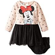 Disney Baby-Girls 2 Piece Minnie Mouse Dress Set, Beige, 3-6 Months