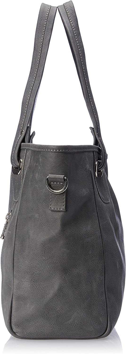 Charcoal One Size Piel Leather Open Tote//Cross Body Bag