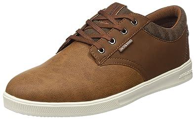 bf6f2459321e JACK   JONES Herren Jfwgaston Pu Combo Cognac Sneaker  Amazon.de ...