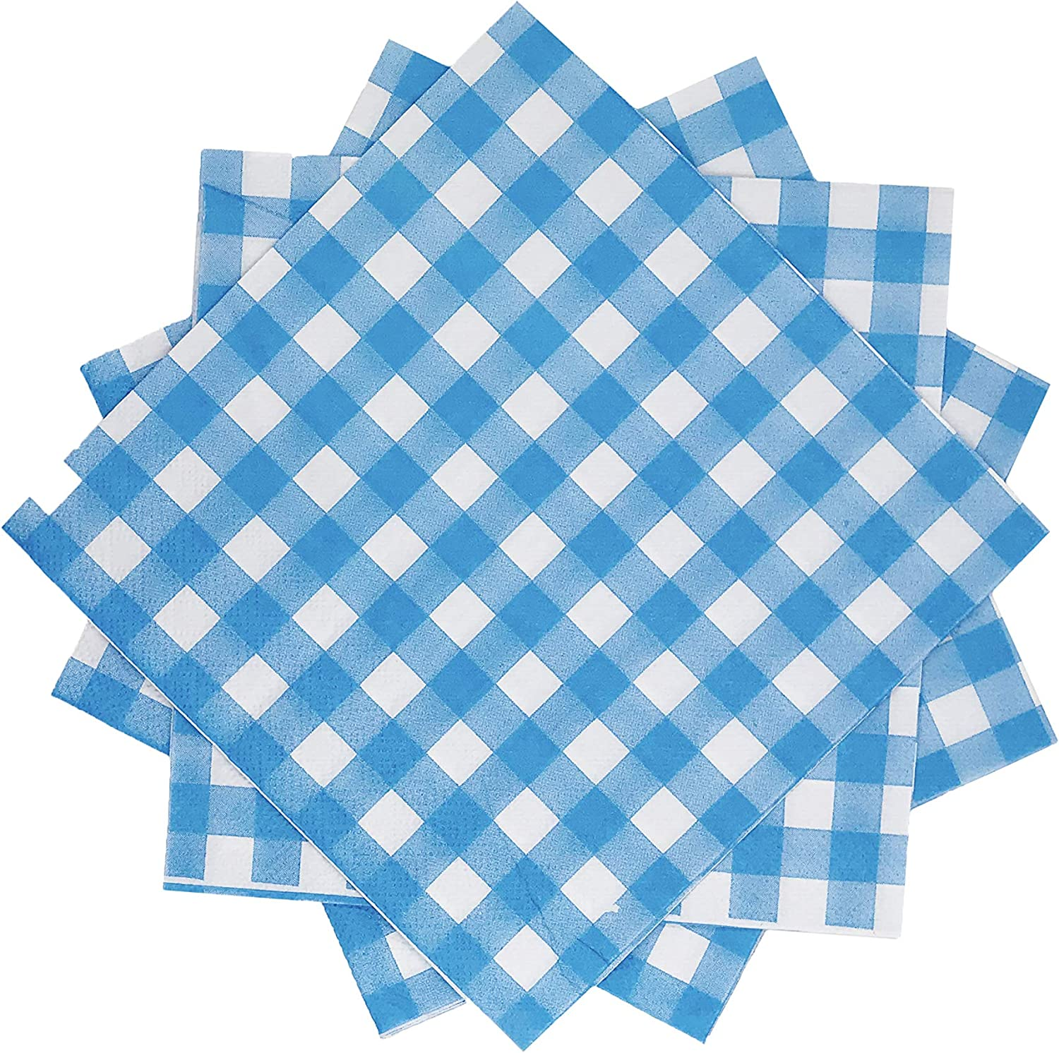WallyE Gingham Paper Napkins, Blue and White Tartan, Great for BBQ Themed Party, Picnic and Farm Party 20 Pack