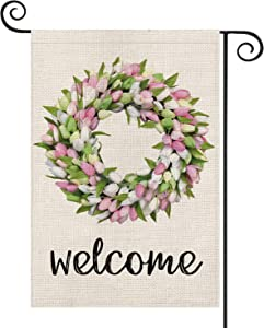 AVOIN Welcome Tulips and Lily Wreath Garden Flag Vertical Double Sized, Seasonal Spring Easter Mother's Day Yard Outdoor Decoration 12.5 x 18 Inch