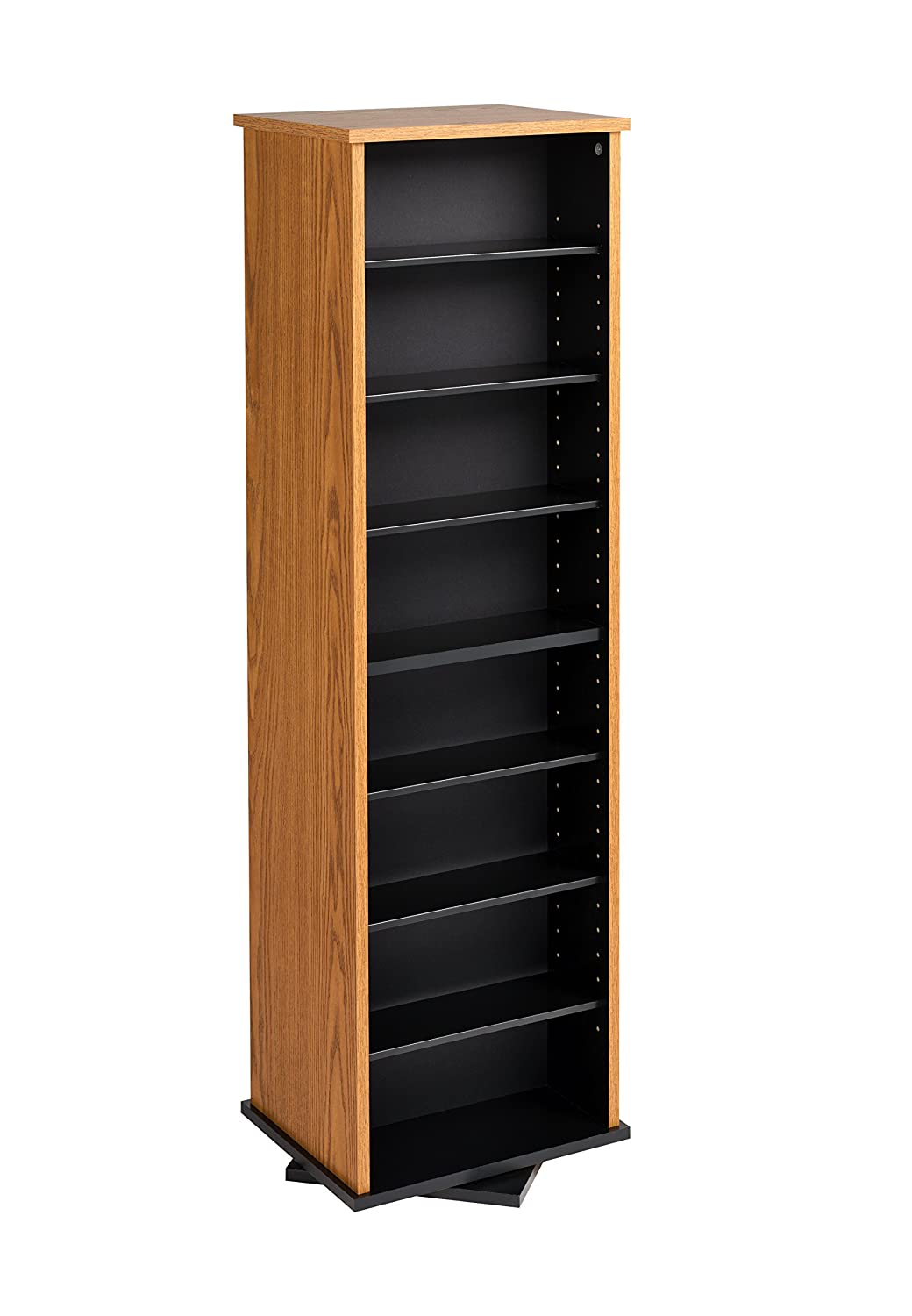 Amazon Com Prepac Two Sided Spinning Tower Storage Cabinet Oak And