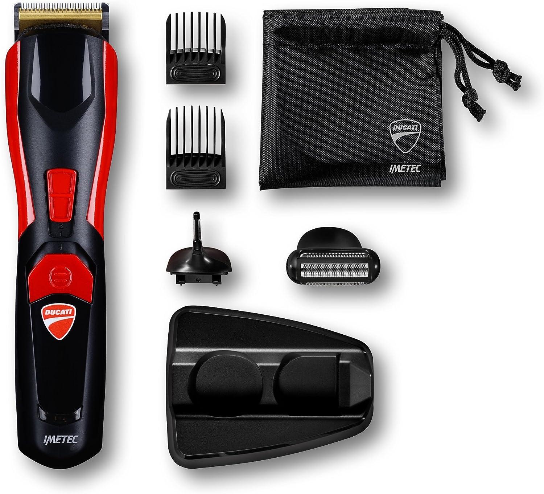Imetec Ducati - Kit Recortador de barba GK 618 Gearbox, 8 en 1 para rostro y cuerpo, cuchillas de acero inoxidable, recortador de precisión, maquinilla de afeitar corporal