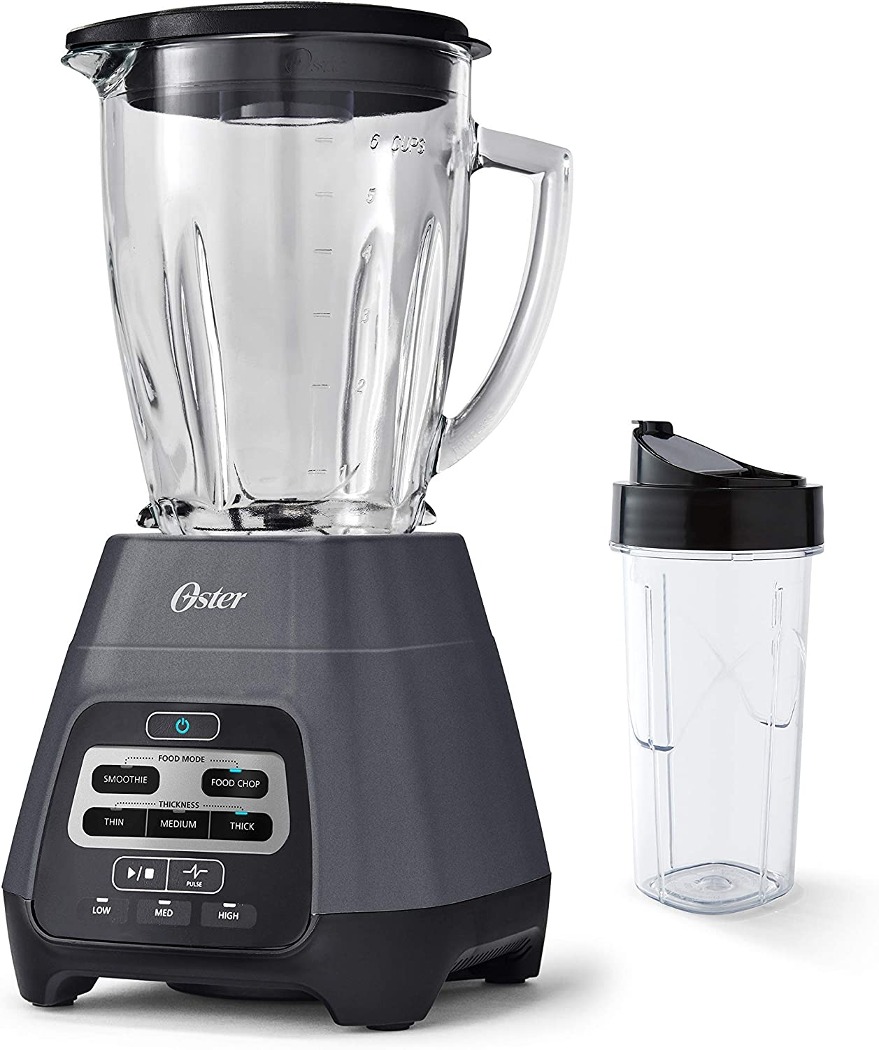 Master Series Blender with Texture Select Settings, Blend-N-Go Cup and Glass Jar, Grey (Renewed)