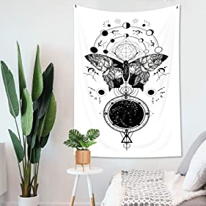 Kewwe Butterfly Tapestry Wall Hanging Black and White Pattern 30Wx50H Inch Simple Nature Abstract Sketch Insect Texture Artwork for Bedroom Living Room Dorm Decor Fabric