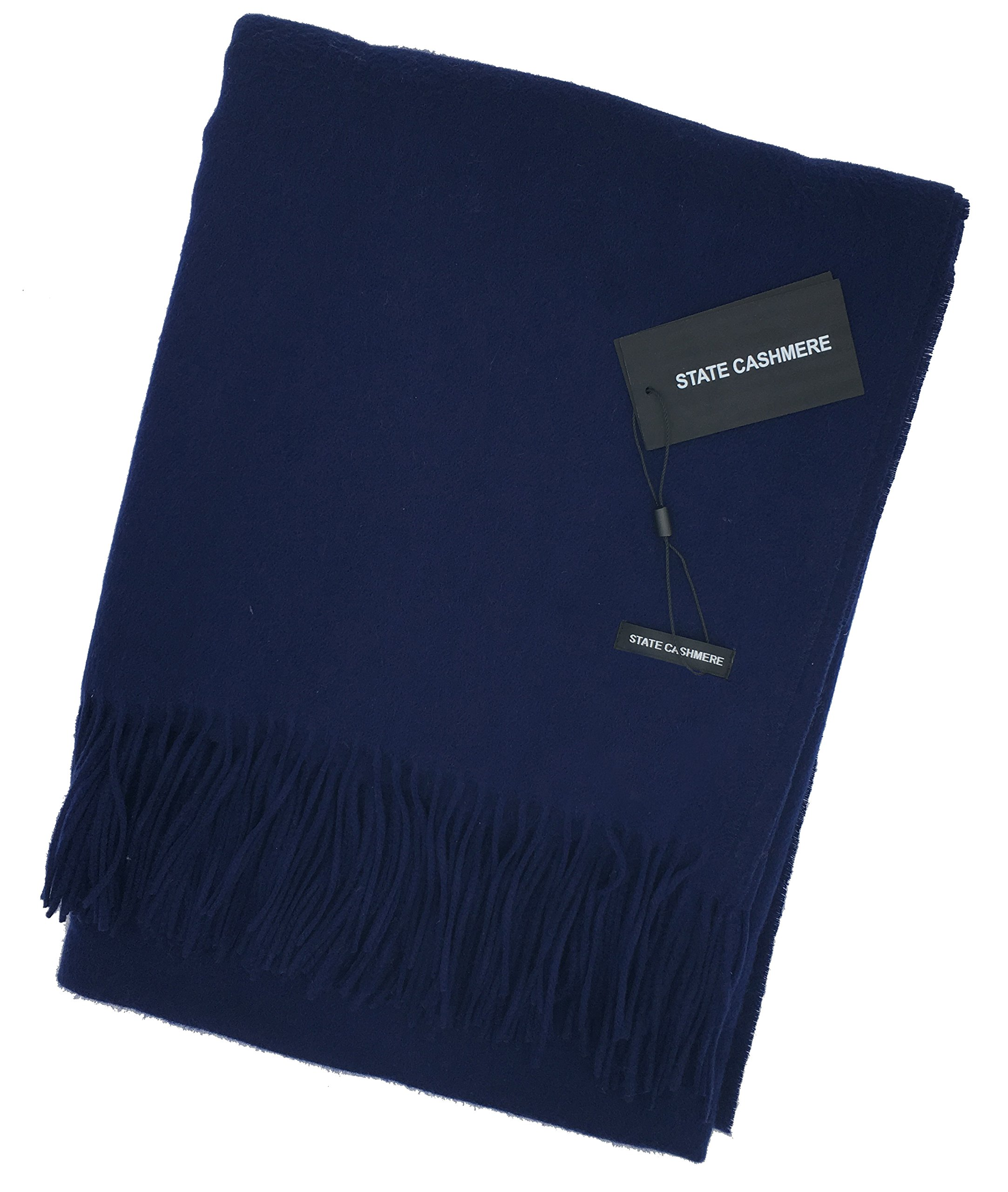 State Cashmere 100% Pure Cashmere Fringe Throw Blanket - 60'' x 50'',Ultimate Soft and Cozy, Navy one size