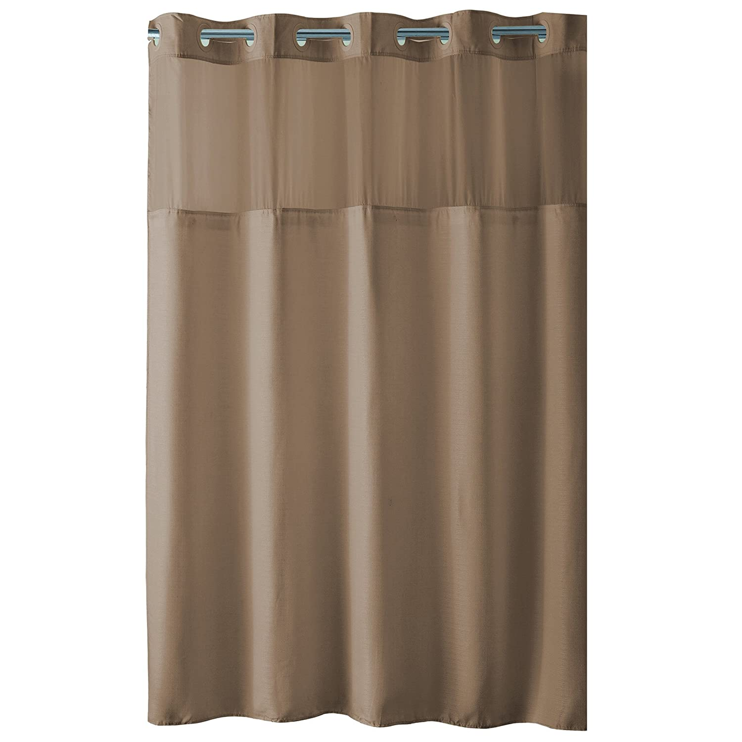 Amazon.com: Hookless High Point PEVA Lined Shower Curtain, Taupe ...
