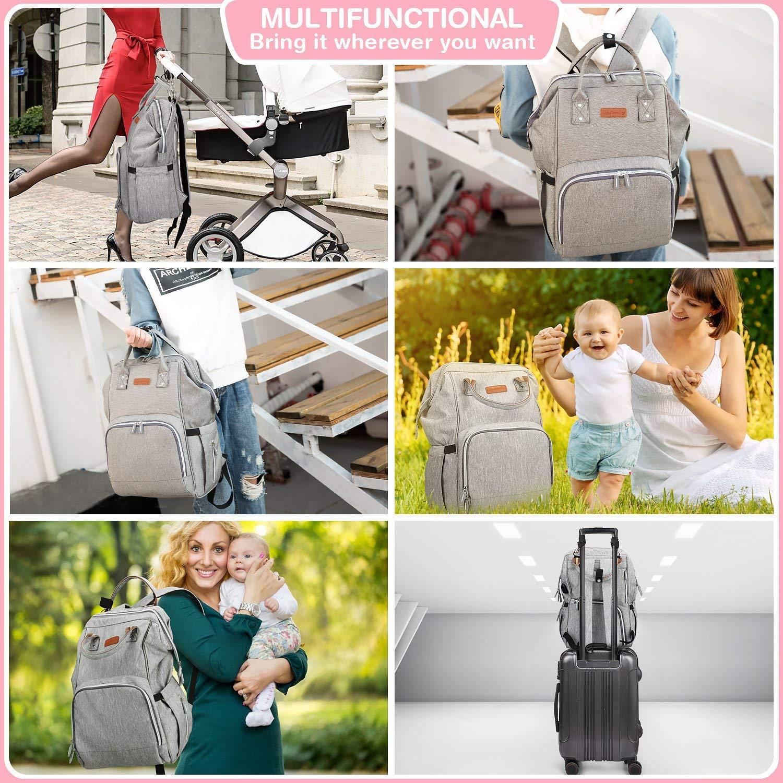 multifunci/ón cambiador Mochila cambiador de pa/ñales para beb/é con puerto de carga USB correa para cochecito gran capacidad mochila de viaje bolsa aislante para botellas gris impermeable
