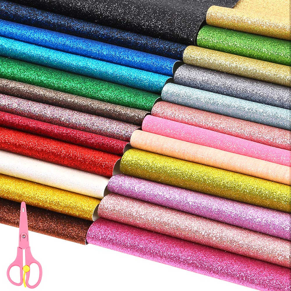 Sntieecr 24 Colors PU Leather Glitter Fabric Sheets, 12.6'' x 8.6'' (32cm x 22cm) Shiny Superfine Fabric Canvas Back with Scissors for Making Hair Bows, Handbag and DIY Craft