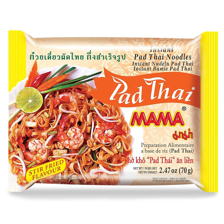 MAMA Noodles Pad Thai Instant Spicy Noodles w/ Delicious Thai Flavors, Hot & Spicy Noodles w/ Pad Thai Soup Base, No Trans Fat w/ Fewer Calories Than Deep Fried Noodles 30 Pack