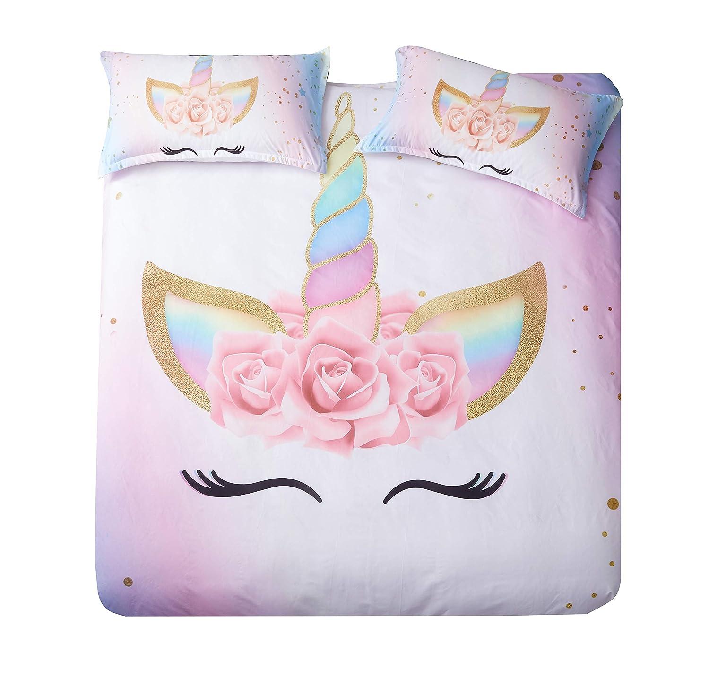 DEERHOME Unicorn Bedding 3 Piece Flower Girl Duvet Cover Set Cartoon Unicorn Bedspreads Cute Duvet Covers for Teens,Boys and Girls (#03, Twin)