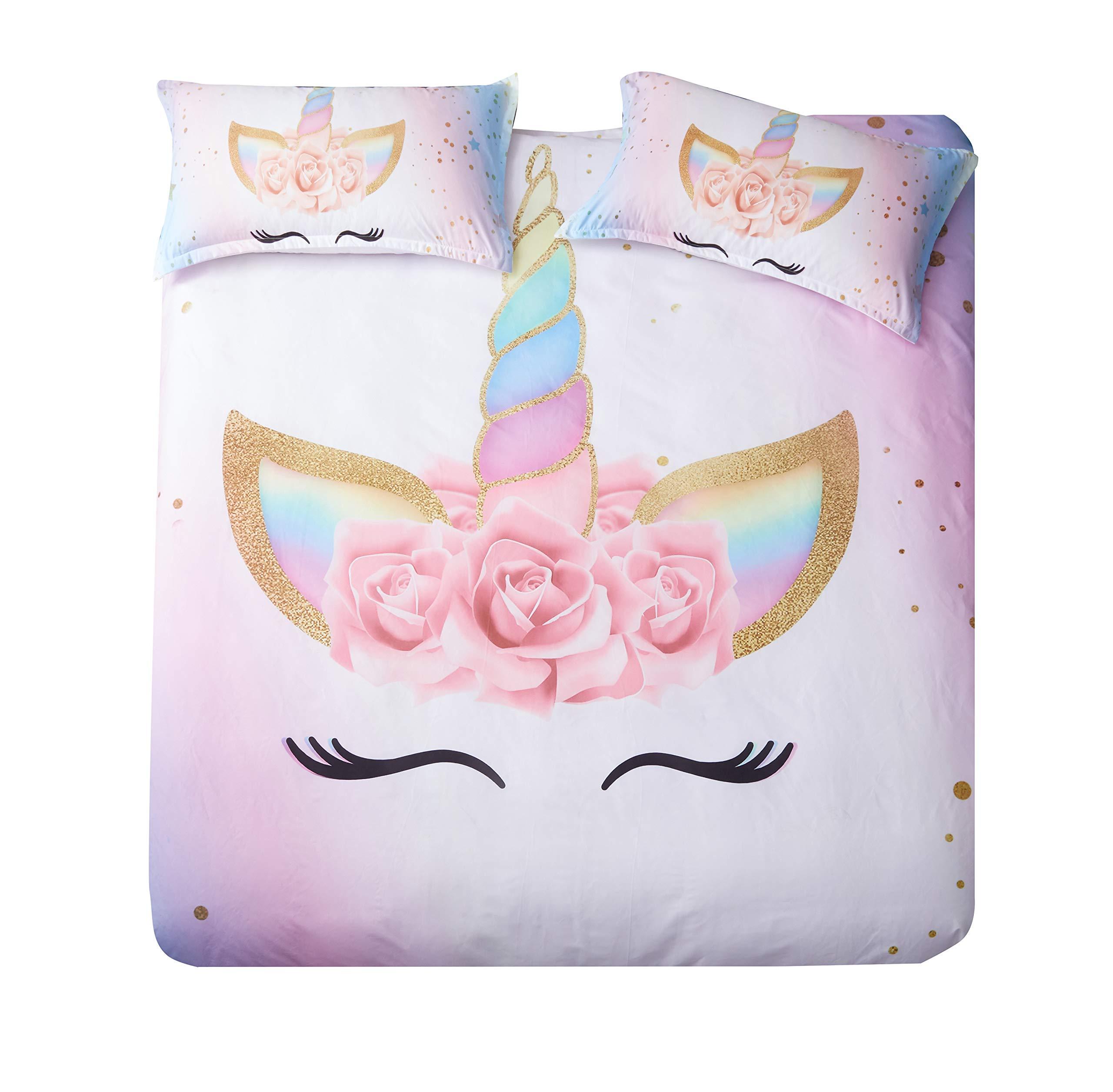 DEERHOME Unicorn Bedding 3 Piece Flower Girl Duvet Cover Set Cartoon Unicorn Bedspreads Cute Duvet Covers for Teens,Boys and Girls (#03, Twin) by DEERHOME