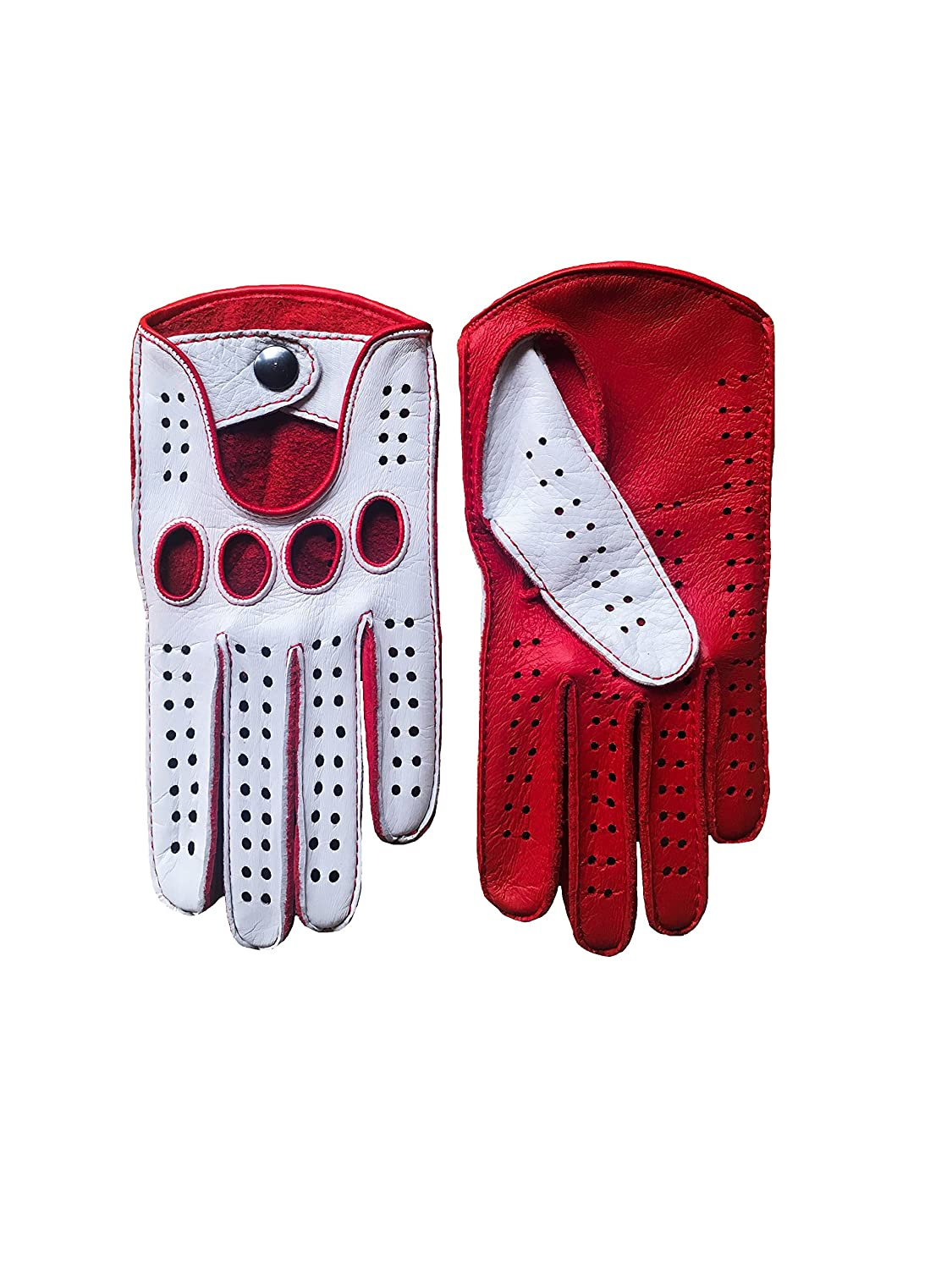 Gaspar leather driving gloves - Men S Driving Gloves Color Red White By Hungant At Amazon Men S Clothing Store