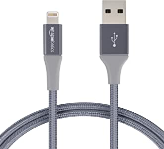 AmazonBasics Double Braided Nylon Lightning to USB A Cable, Advanced Collection - MFi Certified iPhone Charger - Dark Grey, 3-Foot