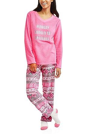 Secret Treasures Monday Should Be Optional Pink 3 Piece Fleece Pajama Sleep Set w/Socks