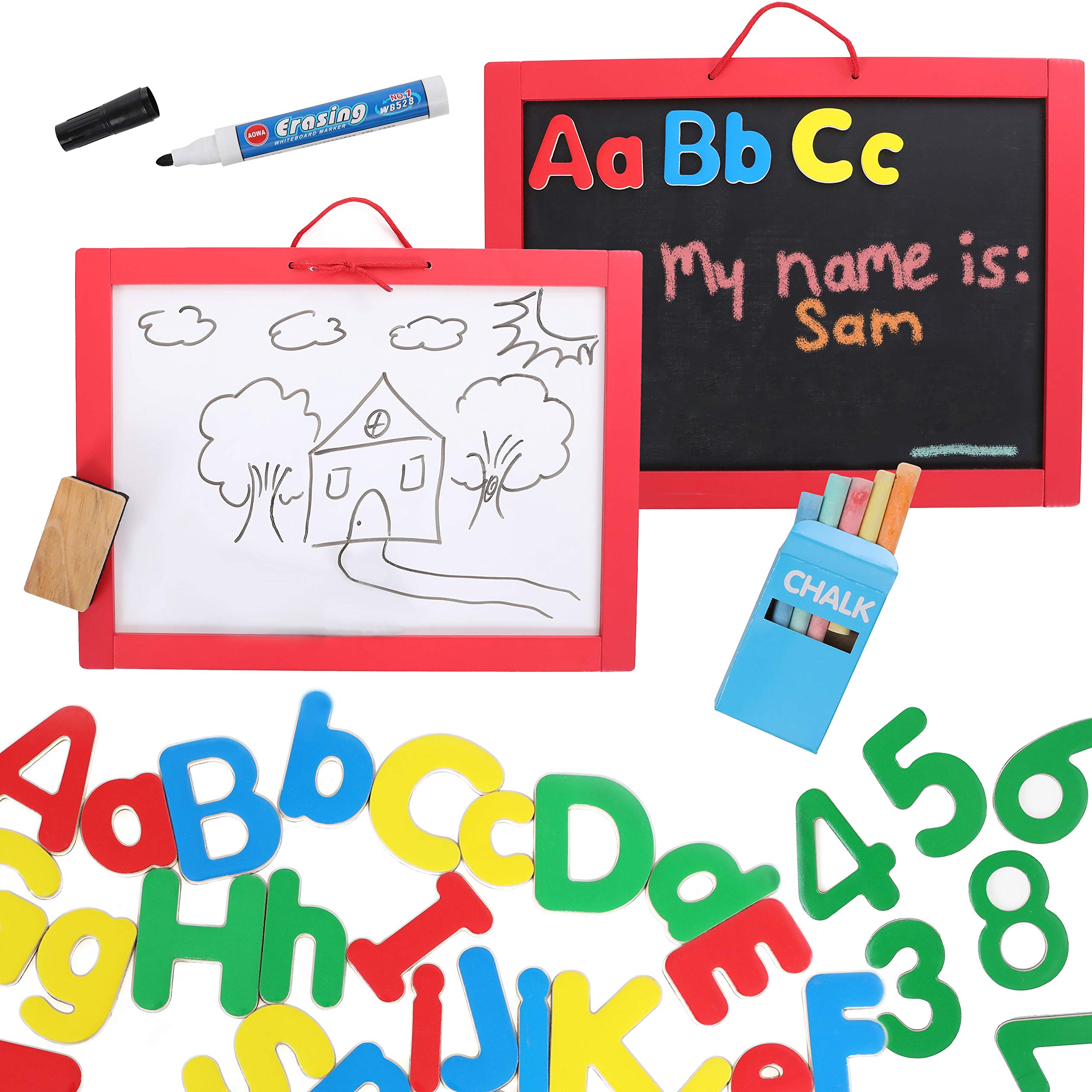 Kraftic 3 in 1 Magnetic ABC Art Board, 62 Magnetic Wood Alphabet and Numbers with Dry Eraser, Marker, Chalkboard Color Chalk