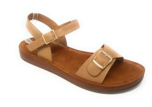 f49f2d747 Forever Link Women's Greek Platform Wedge Flat Sandals Reform 8 & 9 (7.5,  Beige