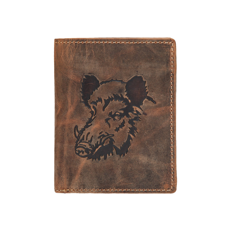 Greenburry Vintage Porte-monnaie motif sanglier cuir 9, 5 cm braun 1701-Wild Boar-25