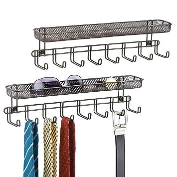 5250b8fe27a3 mDesign Barre de Crochets (Lot de 2) – portemanteau Mural avec 8 Crochets  pour