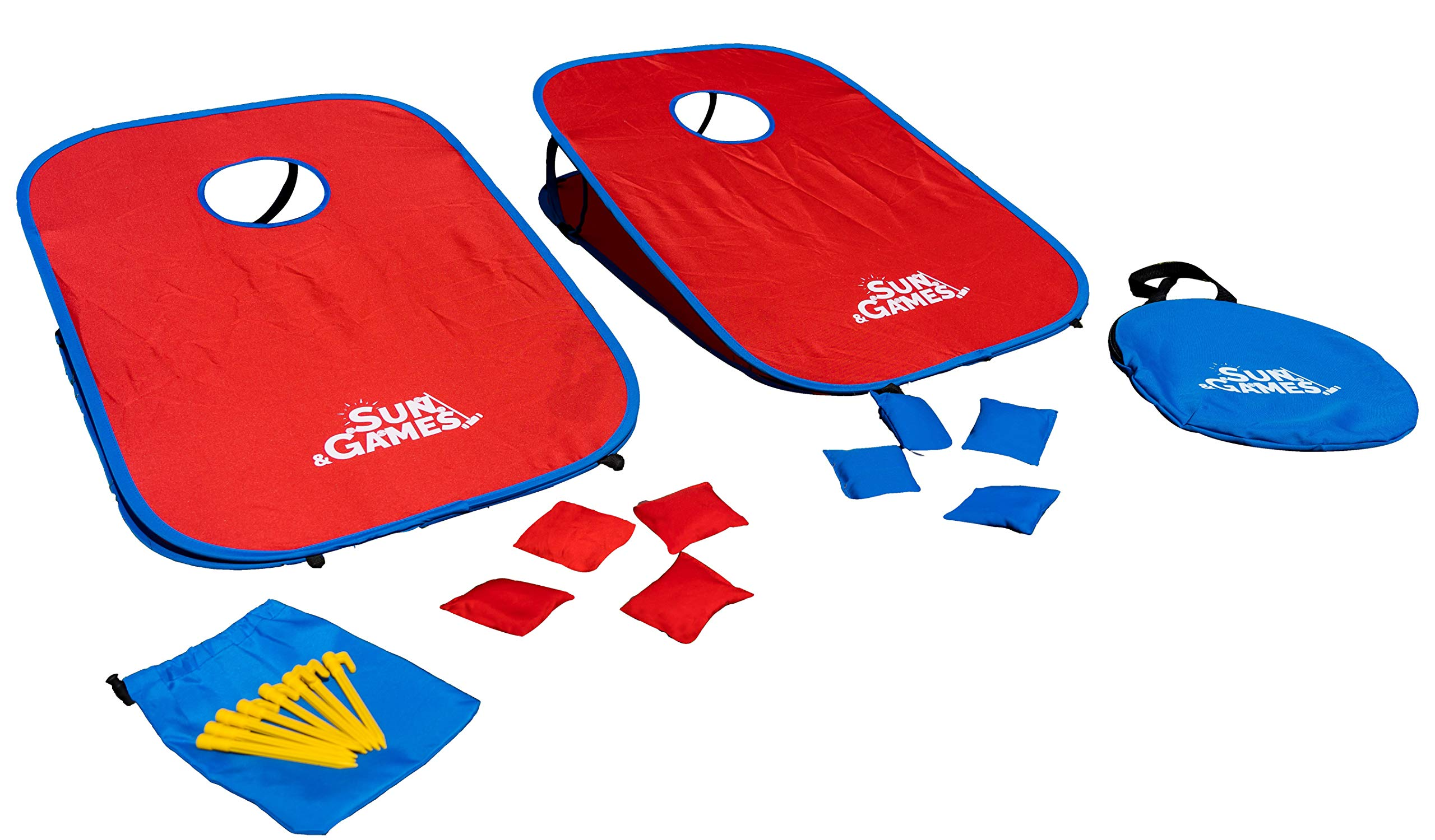 Portable Cornhole Game Set Made of All-Weather, Tear-Resistant Fabric   8 beanbags and Travel Case   Tailgate Size by Sun & Games