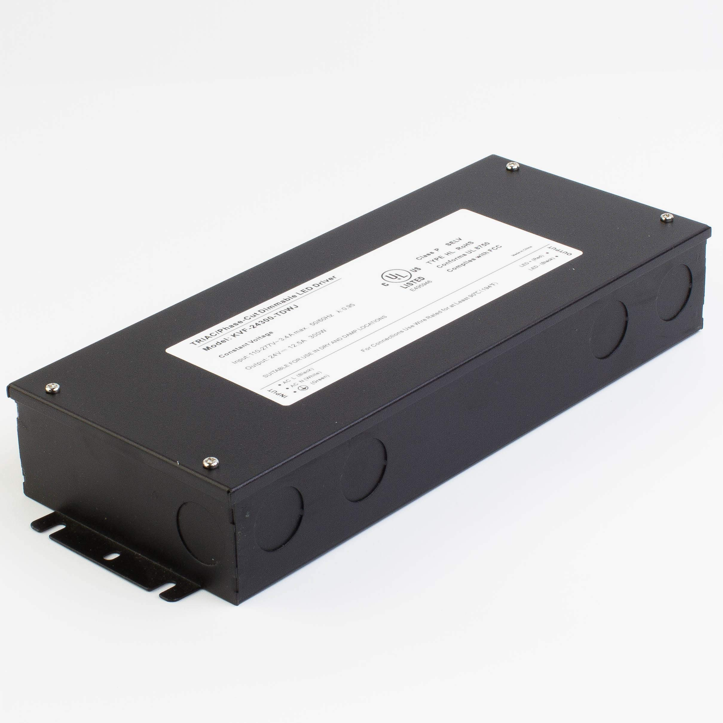 LEDupdates 24v UL Listed 300w Triac Dimmable Driver 110v - 277V AC to DC Transformer Constant Voltage Power Supply for LED Strip light Control by AC Wall Dimmer (24v 300w) by LEDUPDATES (Image #6)