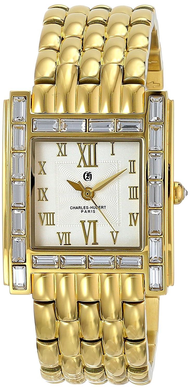 Charles-Hubert-Paris Damen-Armbanduhr Armband Gold beschichtetes Edelstahl GehÄuse Edelstahl Quarz 6900-G