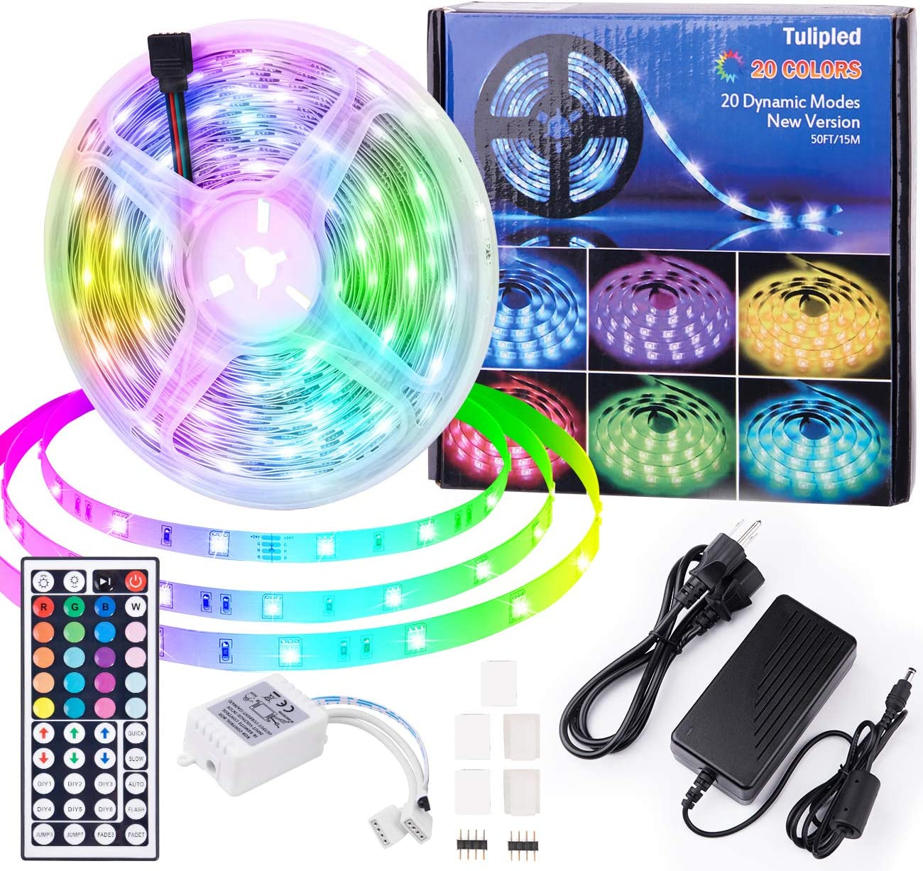 50ft Led Strip Lights Bedroom Decor Color Changing 5050 RGB Luces Led para Decoracion Habitacion 44-Key Remote Power Supply Non-Waterproof Led Rope Lights for Bar Cool Stuff for Your Rooms