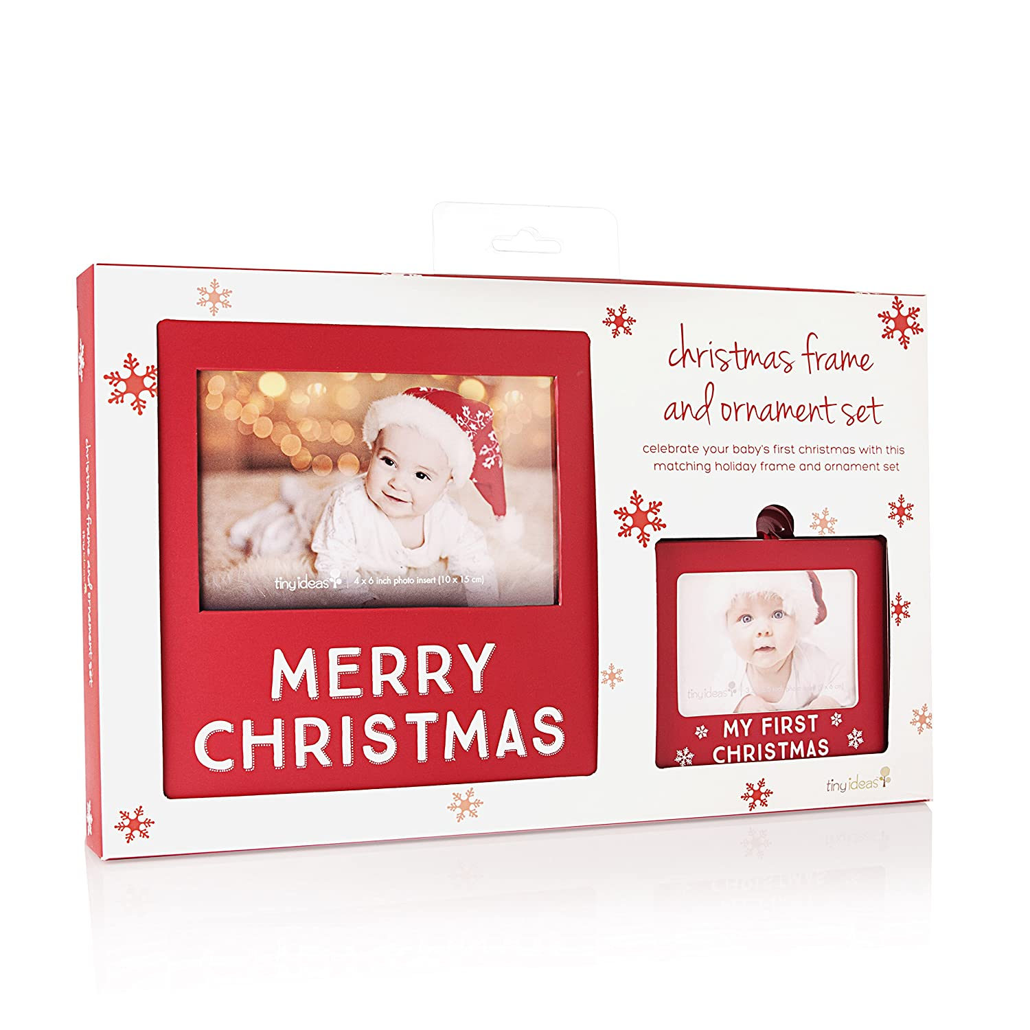Amazon.com: Tiny Ideas Matching Frame and Photo Ornament Set, Merry ...