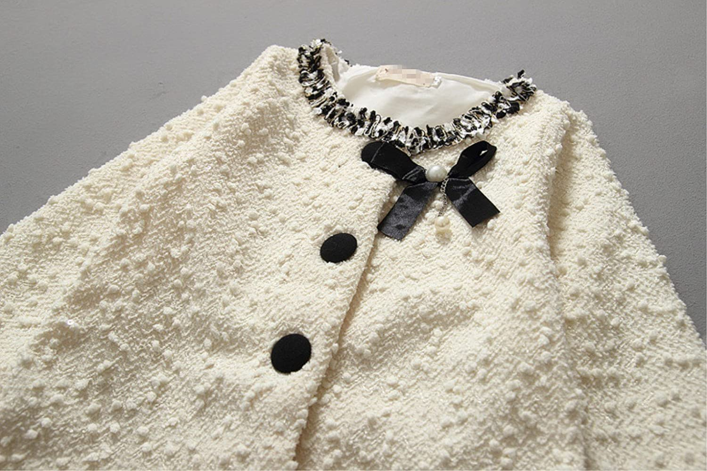 Face Dream Little Girl Bowknot Coat White Black Baby Girls Spring Autumn Jackets Outwear