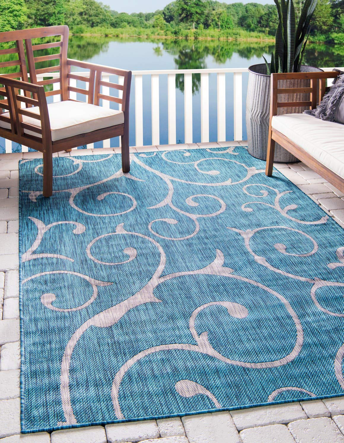 Unique Loom Outdoor Botanical Collection Vine Floral Transitional Indoor and Outdoor Flatweave Teal Area Rug 6 0 x 9 0