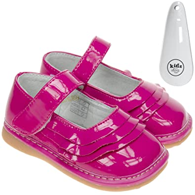 09527684675 Freycoo Girls Toddler Childrens Kids Faux Leather Squeaky Shoes Patent Hot  Pink Wide Fit with Velcro - with Shoe Horn  Amazon.co.uk  Shoes   Bags