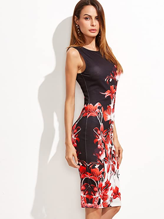 ea43a4f7c68 Floerns Women s Floral Print Sleeveless Split Cocktail Party Bodycon Dress  at Amazon Women s Clothing store