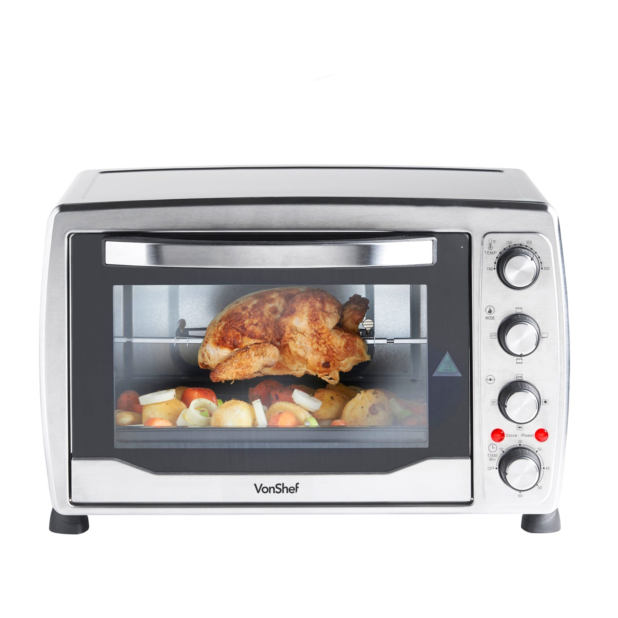 VonShef Large 31Qt/36L Convection Countertop Toaster Mini Oven, Grill & Rotisserie - includes Baking Tray & Wire Rack