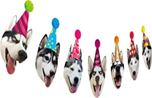 Dogs Birthday Garland, Funny Siberian Husky Face Portrait Birthday Banner, Dog Bday Bunting Decor