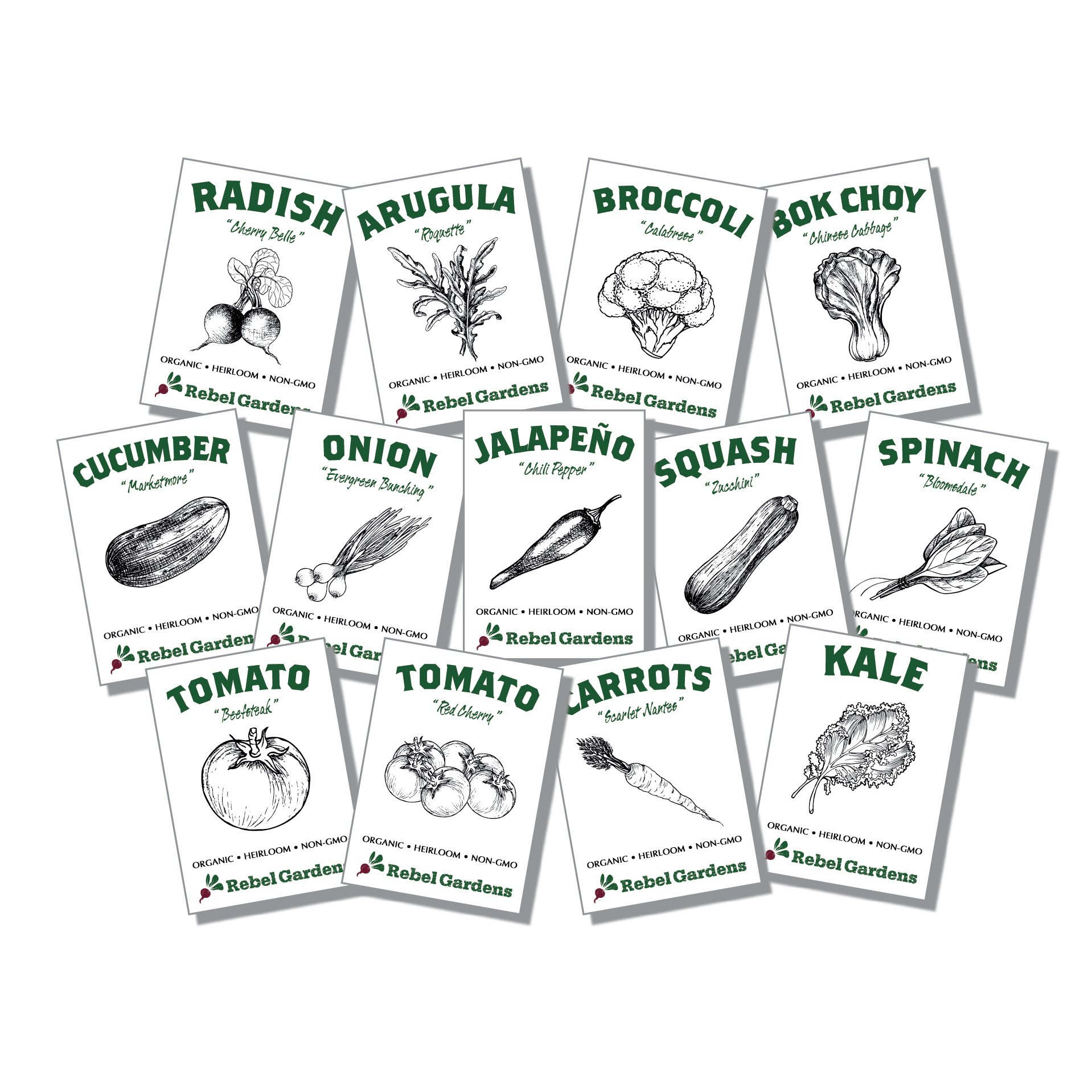 Organic Vegetable Seeds for Planting - 13 Varieties of Non GMO, Non Hybrid, Heirloom Seeds, Open Pollinated Garden Seeds - Tomatoes, Kale, Carrots, Broccoli, Arugula, and More by Rebel Gardens