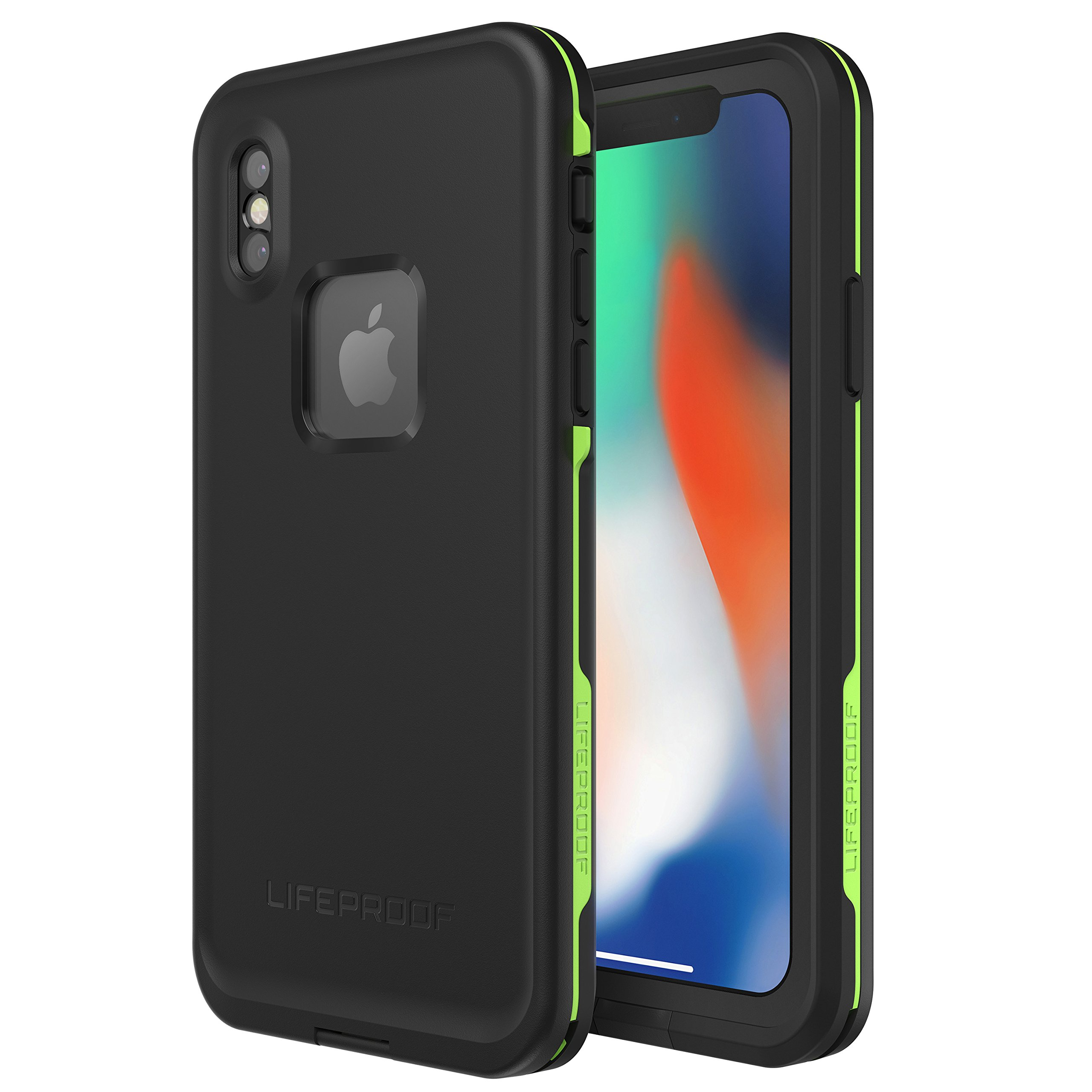 Lifeproof FRĒ SERIES Waterproof Case for iPhone X (ONLY) - Retail Packaging - NIGHT LITE (BLACK/LIME) by LifeProof (Image #1)
