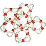 "Mini Life Rings / Life Preservers 2"" Red Nautical Set of 12"