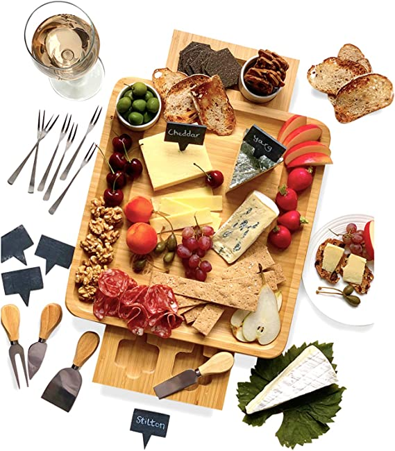Bamboo Cheese Board And Knife Set 20 Pc Wood Charcuterie Platter Serving Meat Cheese Plate With 2 Slide Out Drawers 6 Appetizer Forks 6 Slate Labels 4 Stainless Steel Knives And Bowls Cheese Plates Amazon Com