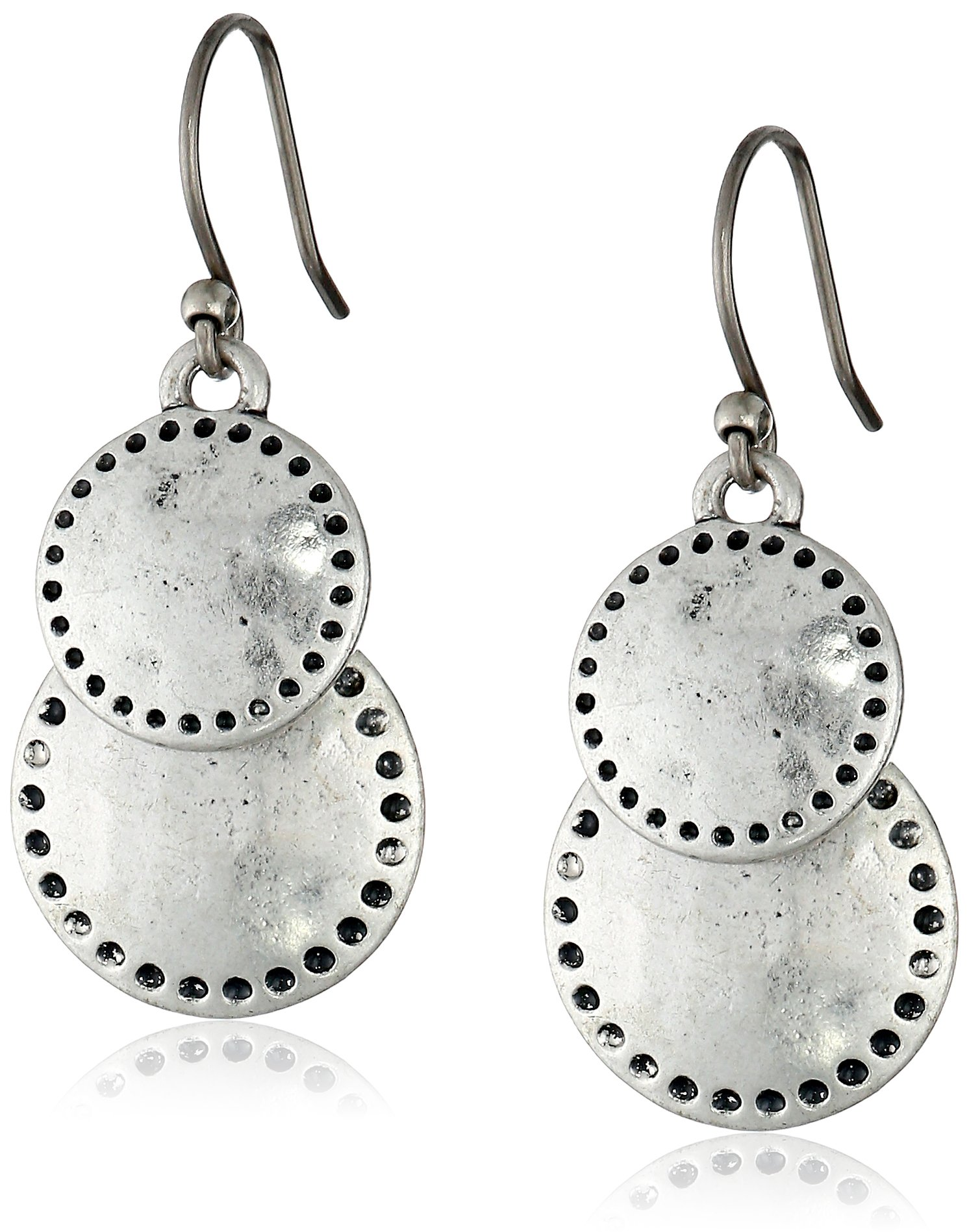 Lucky Brand Womens Double Drop Earring, Silver, One Size