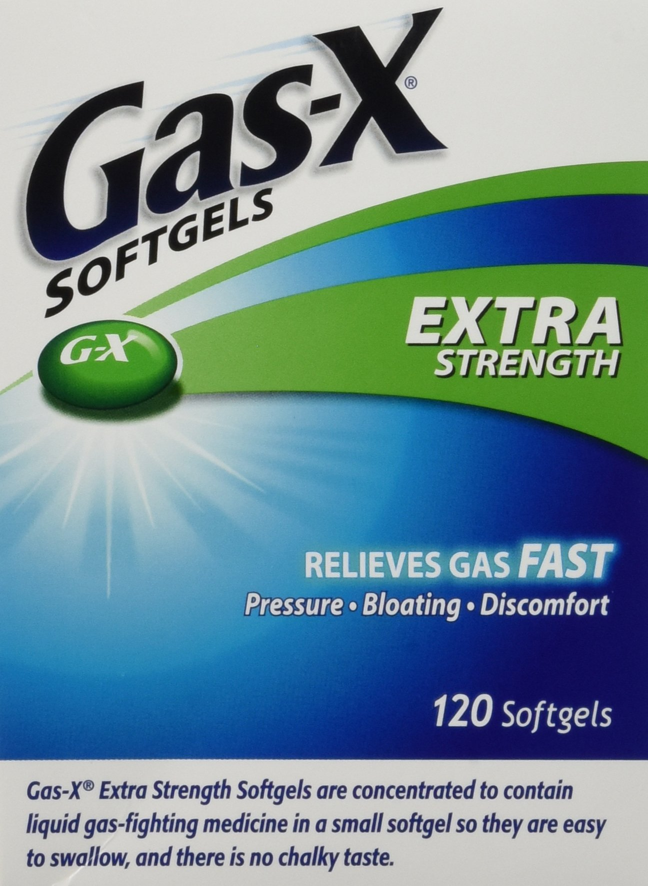 Gas-x Extra Strength , 120 Softgels, Gas, Bloating, Relief Simethicone 125mg