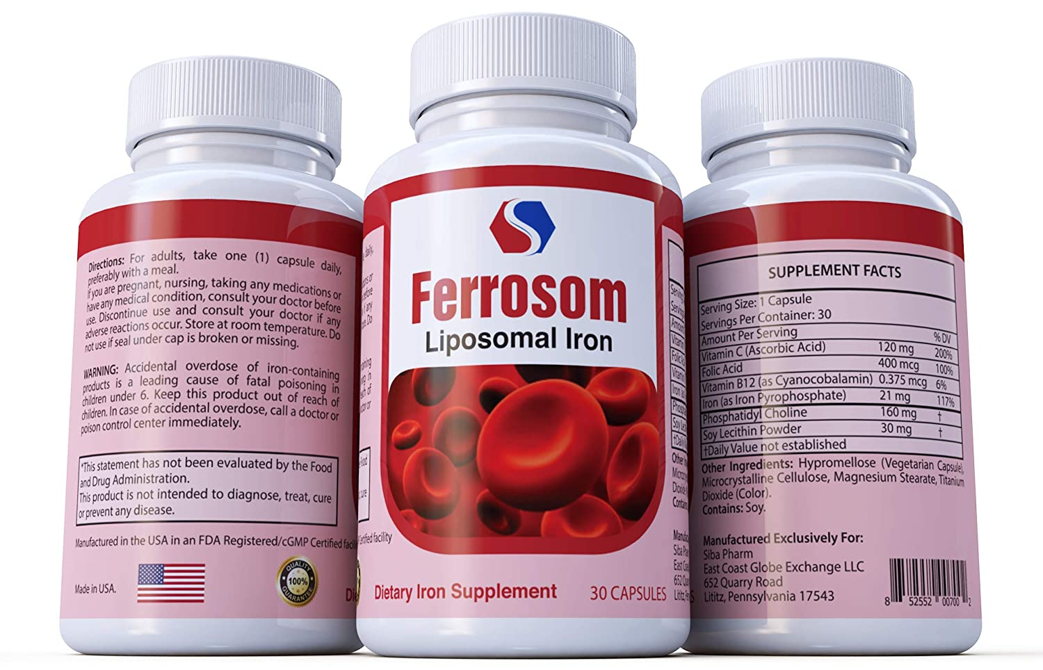 Ferrosom Iron Supplement by Siba Pharm – Liposomal Dietary Iron Vitamin – Rich in Vitamin C, B12, Folic Acid - Vegan