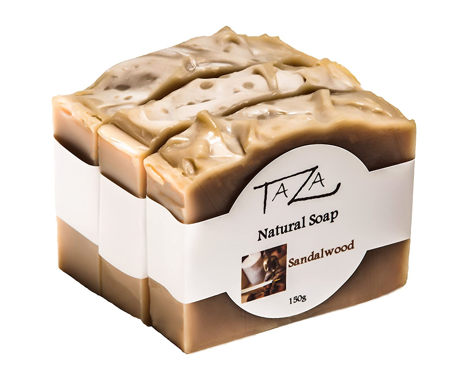 Premium Taza Sandalwood Natural Soap (Pack of 3) Each 5.3 oz (150 g) ♦ For Radiant Glowing Skin ♦ Contains: Coconut, Olive, and Palm Fruit Oils, Mango Seed Butter, Sandalwood Powder, Kaolin Clay Priya Spa