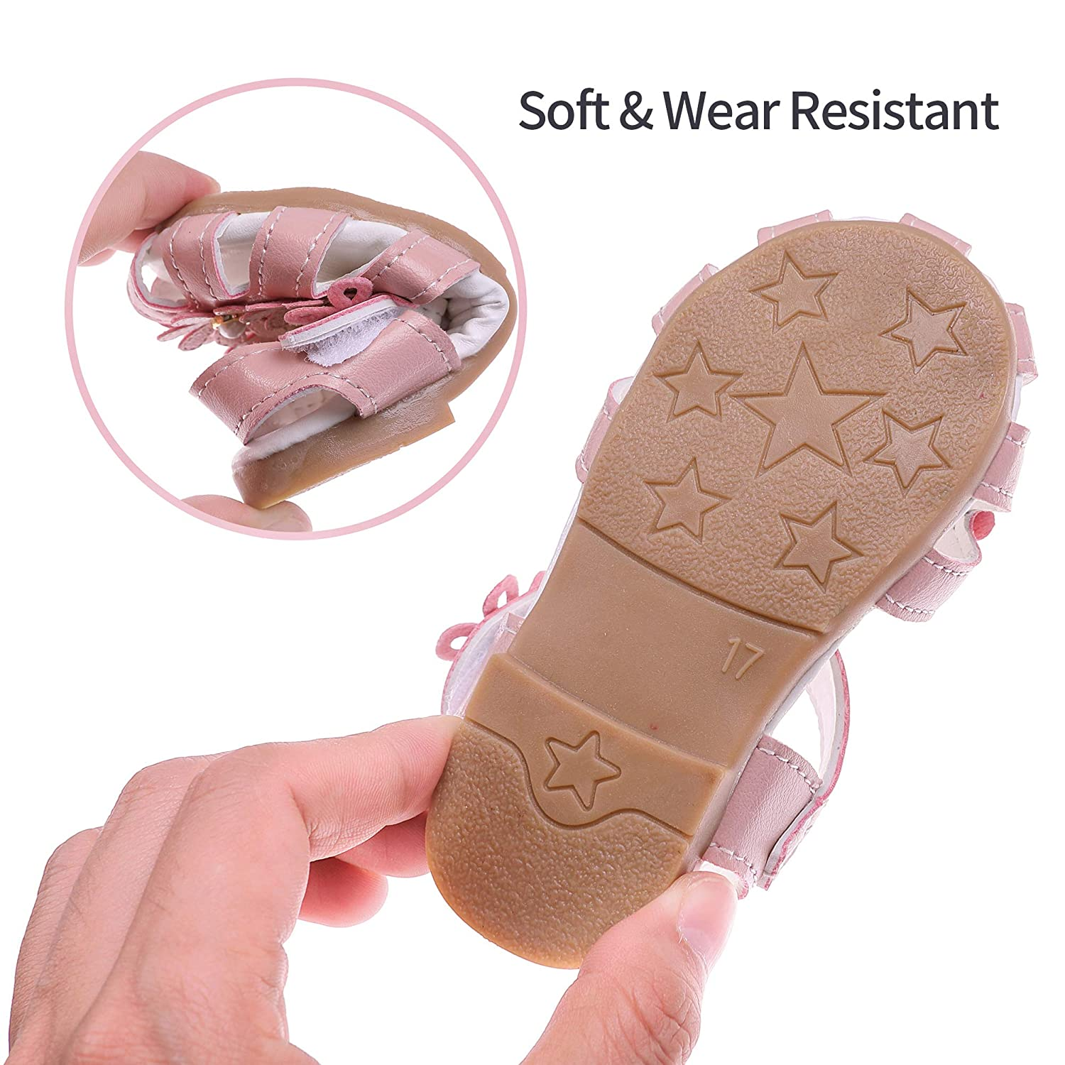 Toddler Baby Girls Summer Princess Soft Leather Sandals Closed Toe Flat Shoes