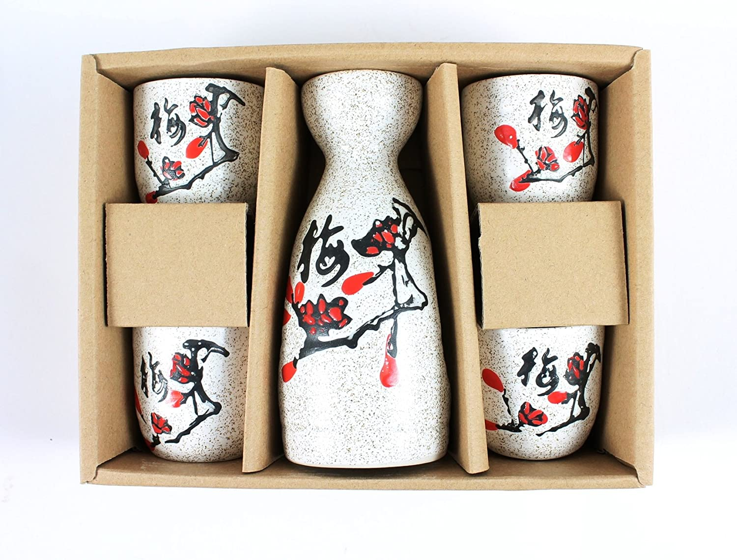 5 Peice Sake Set (Mix Designs) (Black Cherry Blossom)