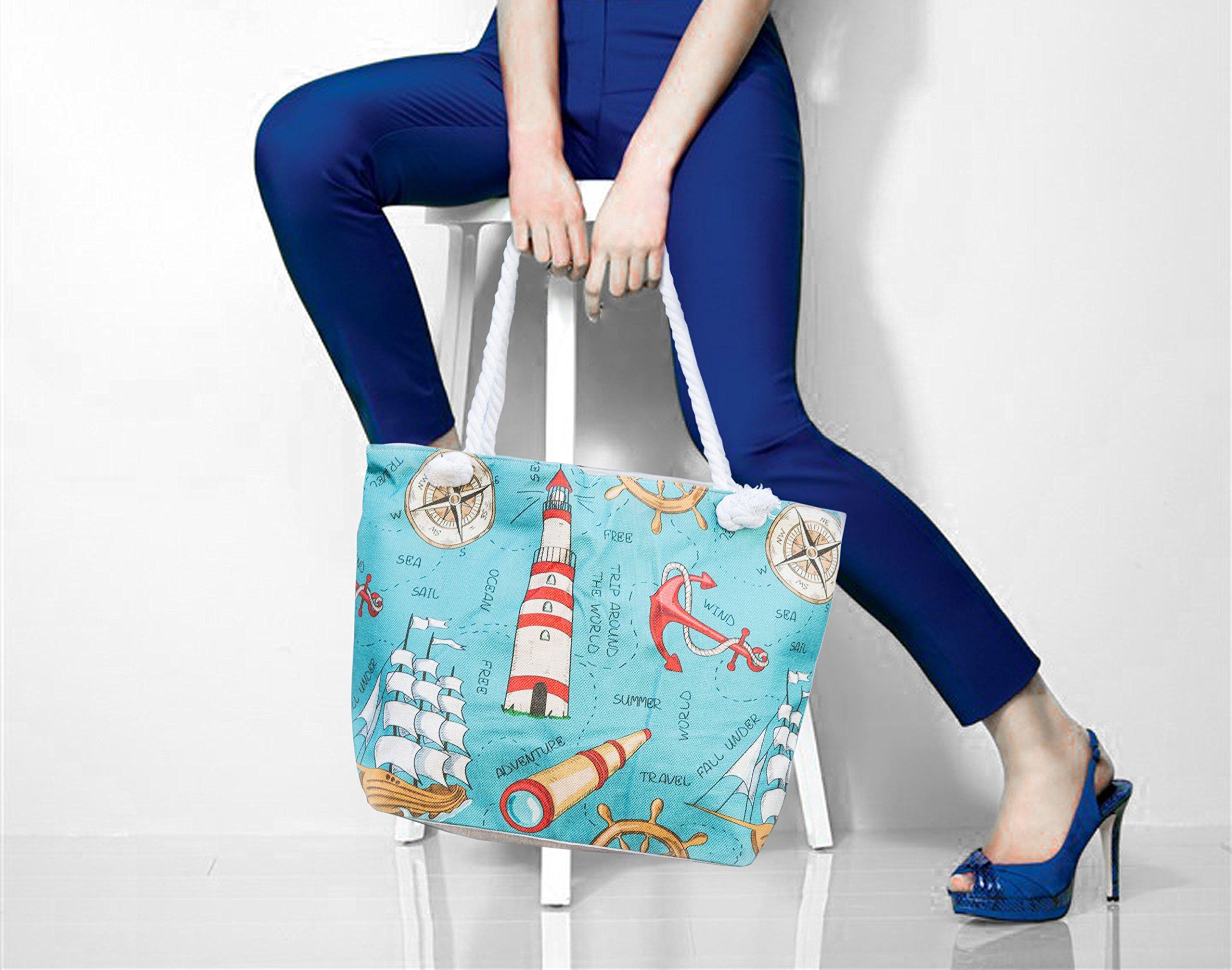 JJMG NEW Summer Beach Bag Stroller Friendly Women's Large Capacity Mom's Tote Beach Shoulder Bag With Rope Handles –Shopping Bag, Diaper Bag, Yoga Bag, Toys, Towels, Swim Suits, etc. by JJMG (Image #4)