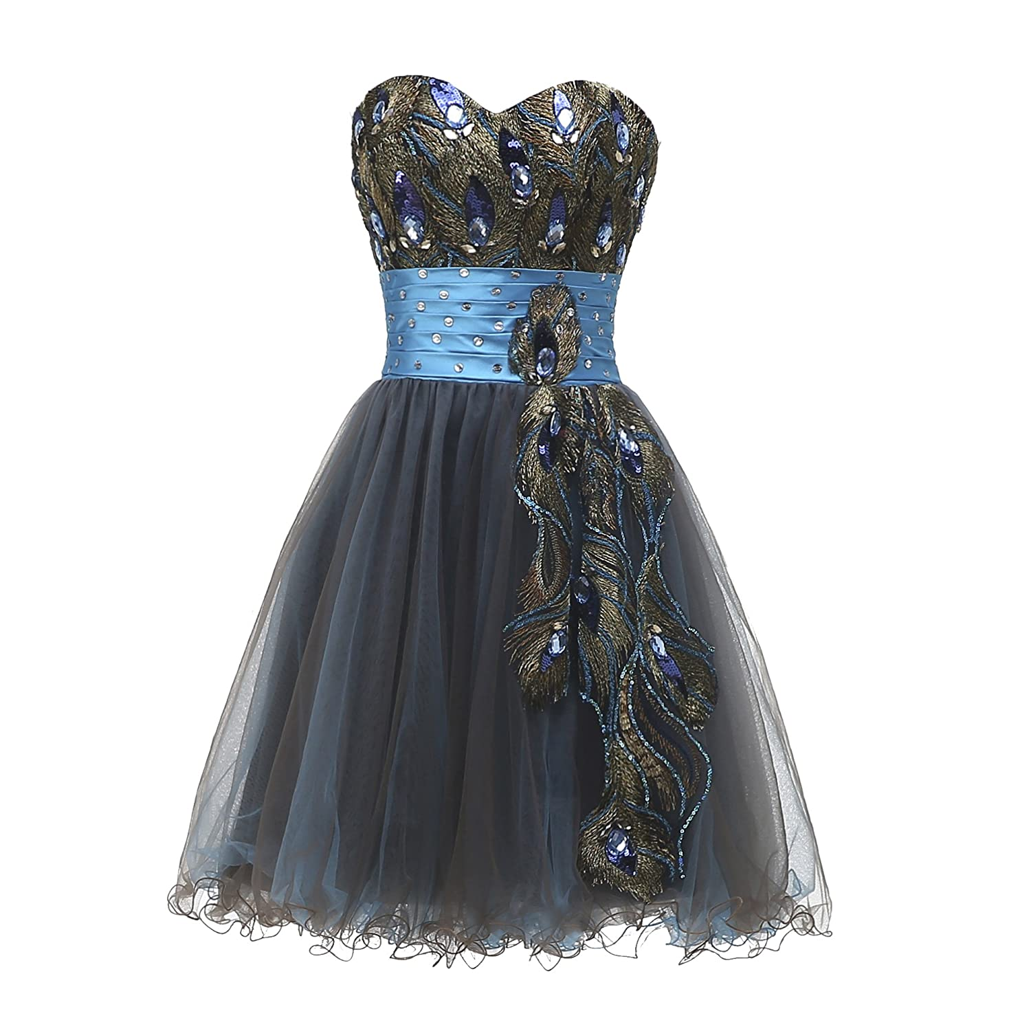Everlastinglove Peacock Applique Short Homecoming Dresses Tulle Cocktail Dress