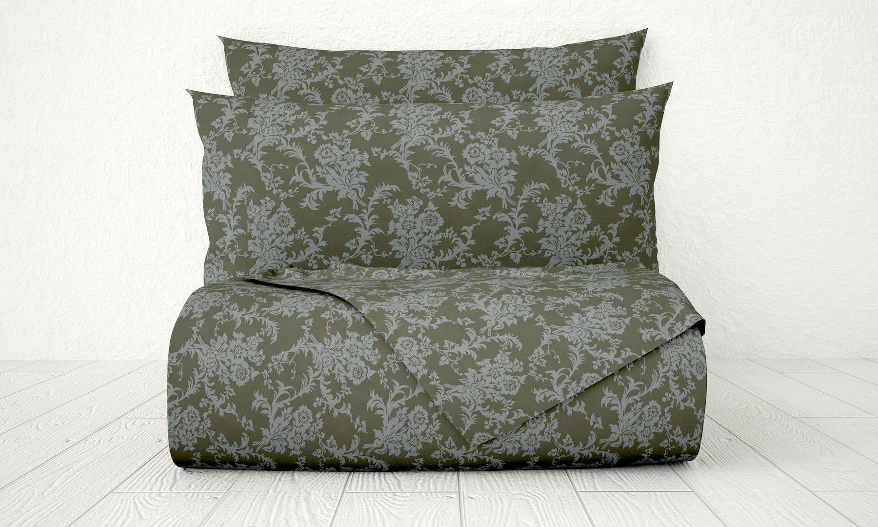 Livingston Home Xara Luxury 33234 4 Piece Damask 1800 Series Printed Cotton Essential Embossed Tone on Tone Bed Sheet Set, Full, Dark Grey